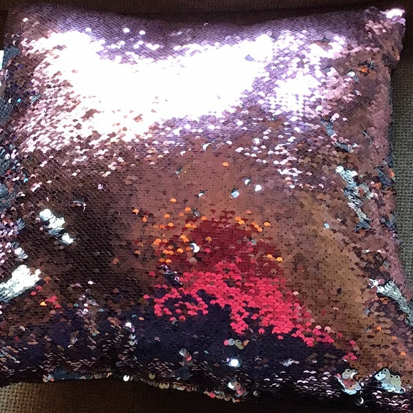 Pink and Silver Sequined Pillow